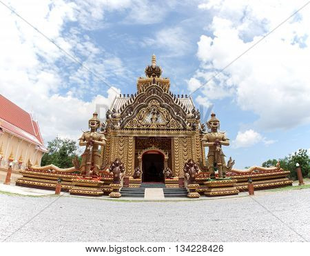 Landmark wat thai temple at Wat Khao Kalok in Pranburi Prachuap Kiri Khan province Thailand. view fish eye.