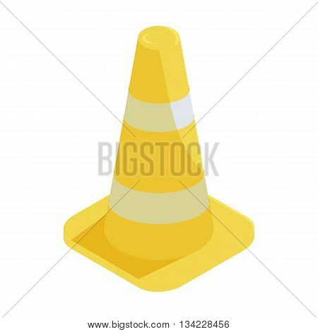 Traffic cone icon in cartoon style on a white background