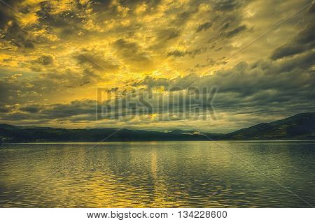 Sunset At Danube Bay After A Heavy Rain Storm