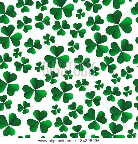 Vector seamless pattern with green shamrock leaves on a white background.