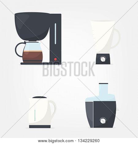 Set of kitchen appliances. Coffee machine