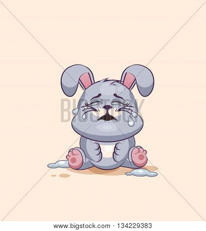 Vector Stock Illustration isolated Emoji character cartoon Gray leveret crying, lot of tears sticker emoticon for site, info graphic, video, animation, websites, e-mails, newsletters, reports, comics