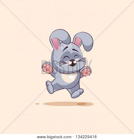 Vector Stock Illustration isolated Emoji character cartoon Gray leveret jumping for joy, happy sticker emoticon for site, info graphic, video, animation, websites, e-mails, newsletters, reports, comics