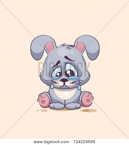 Vector Stock Illustration isolated Emoji character cartoon sad and frustrated Gray leveret crying, tears sticker emoticon for site, info graphic, video, animation, websites, e-mails, newsletters, report, comic