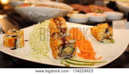 sushi roll raw makki fresh food seafood susi - stock image