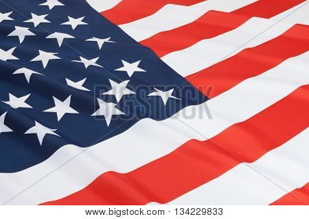 Close Up Shot Of Ruffled National Flags - United States