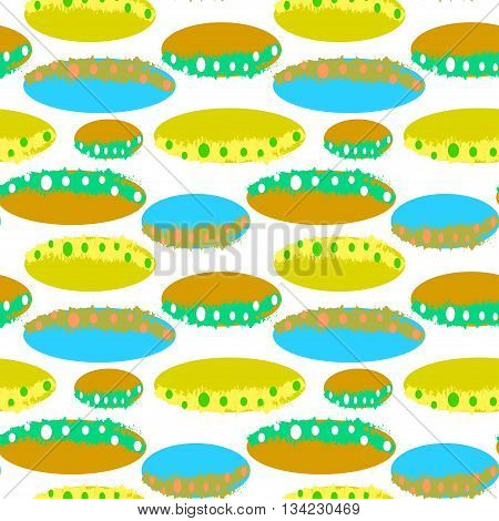 Abstract pattern with colorful ovals. Vector seamless
