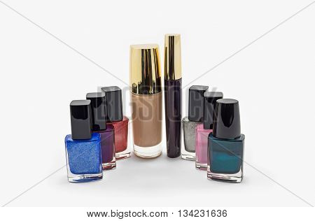 Set of cosmetics for the face and hands isolated on a white background