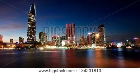 SAI GON, VIET NAM, April 21, 2016 apartment building, Sai Gon River, evening