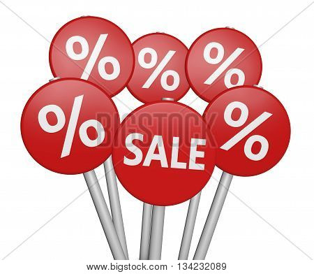 Shopping discount and promo with sale sign and percent symbol on road signs 3D illustration on white background.