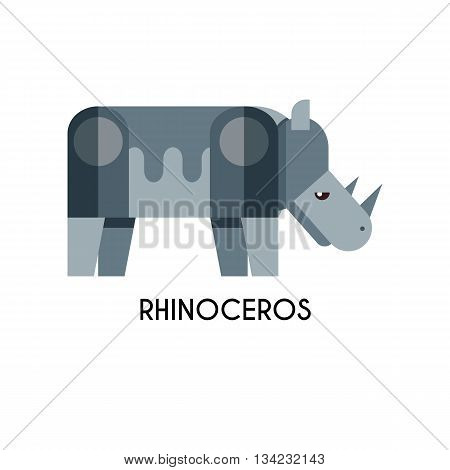 Rhino made in unique geometrical flat style. Flat design template animal logo. Isolated icons for your design.