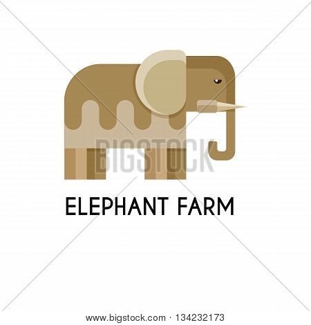 Elephant made in unique geometrical flat style. Flat design template animal logo. Isolated icons for your design.