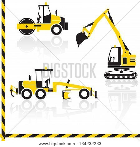 Vector yellow transportation icon set with reflection. Tractors