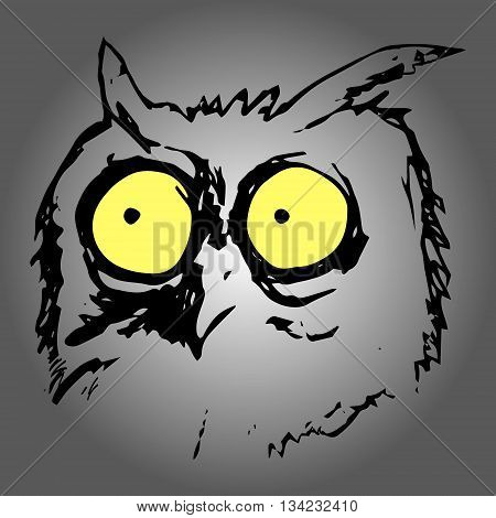 Graphic image of a bird with large yellow eyes. Abstract owls pattern on a grey background. Vector illustration