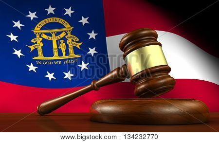 Georgia state laws legal system and justice concept with a 3D rendering of a gavel and the Georgian flag on background.