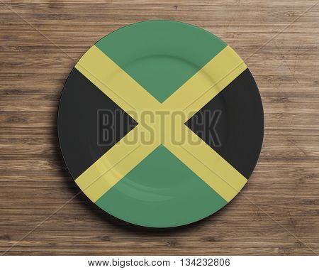 Plate on table with overlay flag of Jamaica