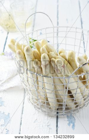 White Asparagus in Basket