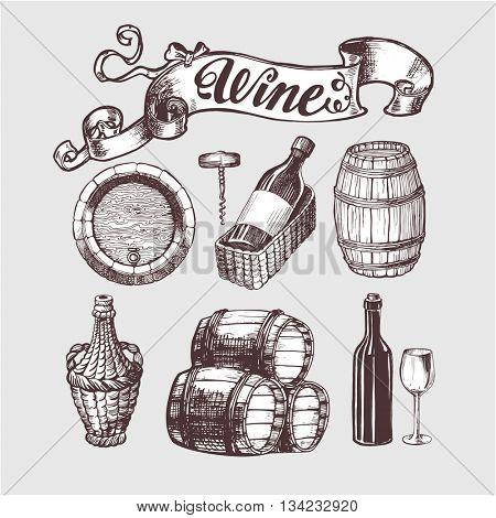 Wine and wine making vintage set. Wine template design. Vector illustration. Sketch style.