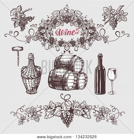 Wine and wine making vintage set. Vector illustration. Sketch style design. Wine barrel, bottle, grape wreath.
