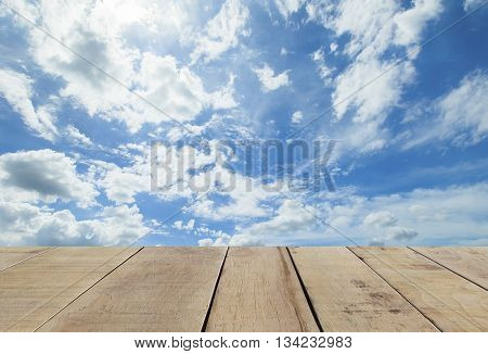 wooden plank with panorama shot of blue sky and clouds in good weather days. Sky And Clouds in day time. Sky background.