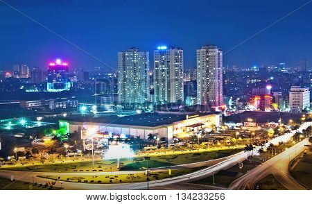 HA NOI, VIET NAM, October 12, 2015 Traffic, Ha Noi street, seen from above, in the evening