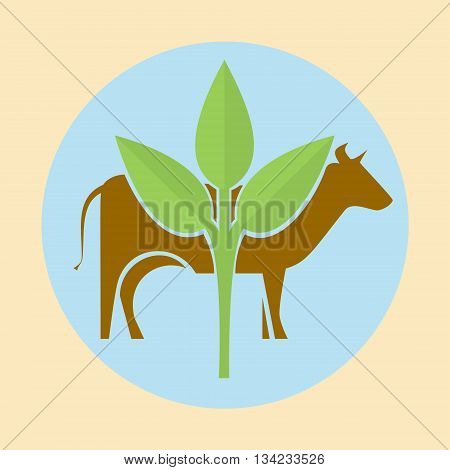 Icon silhouette of a cow and green leaves. Eco logo illustration