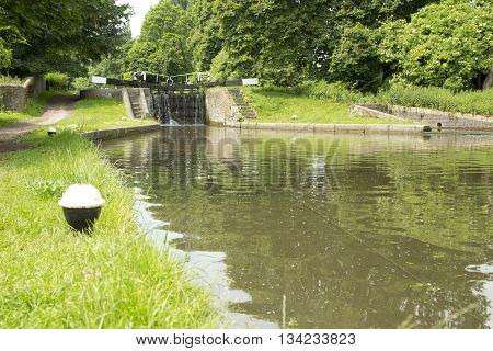 Low angle view of Grand Union Canal Hertfordshire UK.