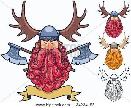 Cartoon Viking portrait in 4 different versions.