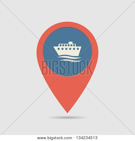 Map Pin Ship Port