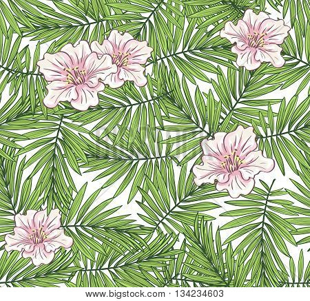 Aloha Hawaii illustration, palm leaves with flowers  on the white background. Vector seamless pattern.