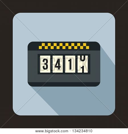 Taximeter icon in flat style with long shadow. Transportation symbol