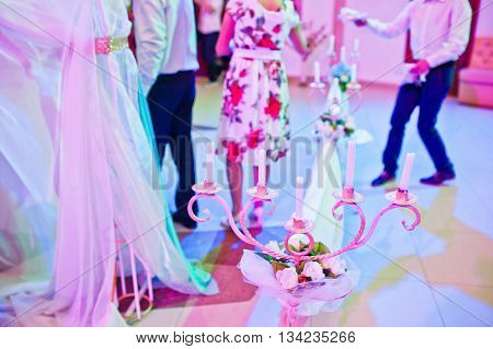 Candlestick At Wedding Ceremony On The Restaurant