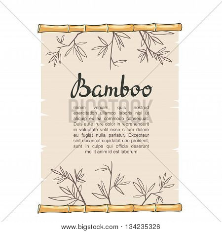 Hand drawn Vector illustration with bamboo roll.