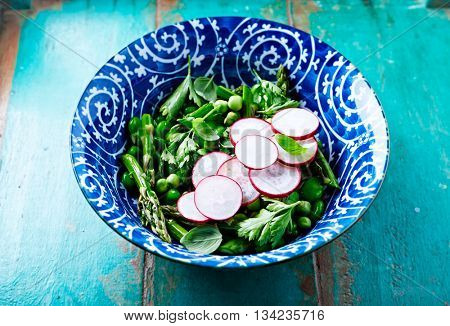 Broad Bean, Pea and Asparagus Salad with Radish