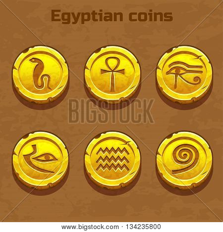 old gold Egyptian coins, resource gaming element