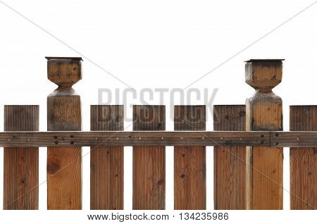 close on wooden railing isolated on white background