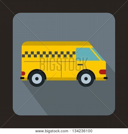 Minibus taxi icon in flat style with long shadow. Transportation symbol