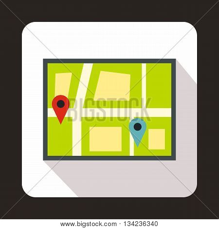 Geo location of taxi icon in flat style with long shadow. Transportation symbol