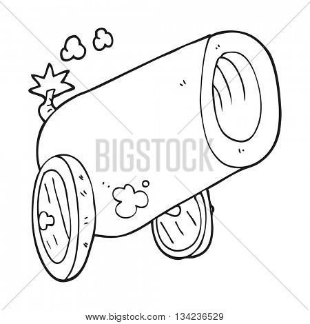 freehand drawn black and white cartoon big cannon