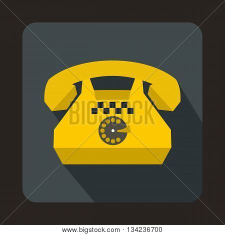 Taxi phone icon in flat style with long shadow. Device symbol