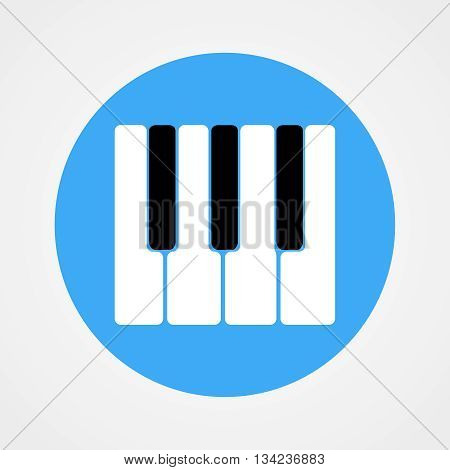 Piano Keys Icon Isolated On Blue Circle | Flat Design | Vector EPS 10
