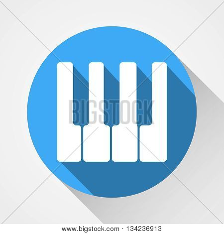 White Piano Keys Icon Isolated On Blue Circle With Long Shadow | Flat Design | Vector EPS 10