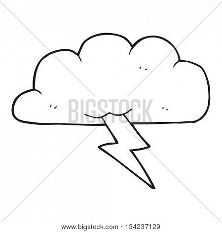 freehand drawn black and white cartoon thundercloud