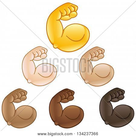 Flexed biceps hand of various skin tones