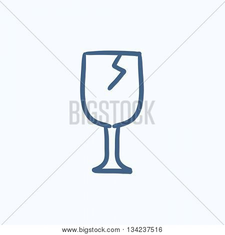 Cracked glass vector sketch icon isolated on background. Hand drawn Cracked glass icon. Cracked glass sketch icon for infographic, website or app.