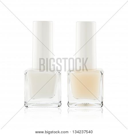 set of light colored nail polishes isolted on white