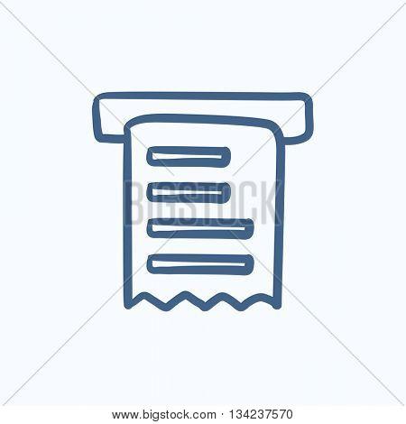 Receipt vector sketch icon isolated on background. Hand drawn Receipt icon. Receipt sketch icon for infographic, website or app.