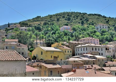 traditional village of Balagne in Corsica with its colorful building