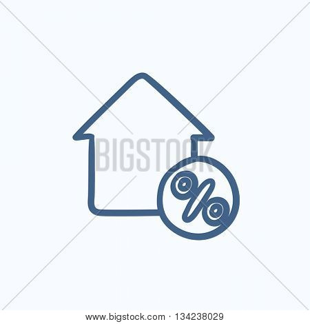 House with discount tag vector sketch icon isolated on background. Hand drawn House with discount tag icon. House with discount tag sketch icon for infographic, website or app.