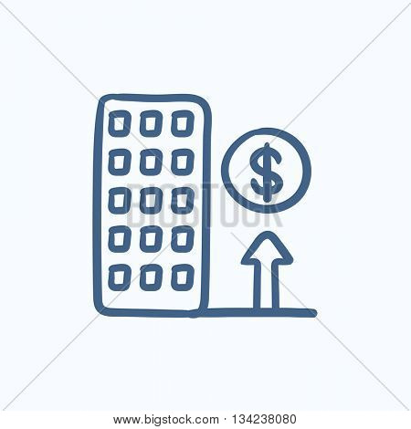 Growth of real estate market vector sketch icon isolated on background. Hand drawn Growth of real estate market icon. Growth of real estate market sketch icon for infographic, website or app.